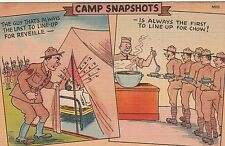 "Military WWII Linen Comic Postcard Camp Snapshots ""Reveille & Mess Hall "" 0131"