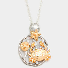 Sea Life Necklace Shell Coral Disc CRAB Star Sand Dollar Filigree SILVER 2 TONE