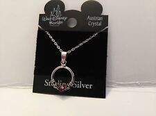 DISNEY Mickey Mouse Icon Austrain Purple Crystal Circle Necklace on a Card