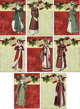 Vintage inspired Christmas Jane Austen small cards scrapbooking crafts set  8