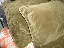 CROSCILL CALABASH BROWNISH GREEN VELVET (PAIR) STANDARD PILLOW SHAMS DOTS TUSCAN