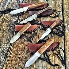 5 PC ASSORTED SET RED DEER Patch Knife Burlwood Handles W/Leather Sheaths NEW