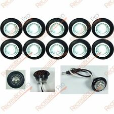"""10 NEW 3/4"""" CLEAR WHITE LED CLEARANCE MARKER BULLET LIGHTS W/BLACK TRIM RING"""