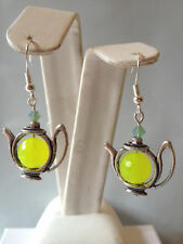 10MM FACETED LEMON JADE& CRYSTAL ACCENT TEA POT EARRINGS- 925 STERLING EAR WIRES