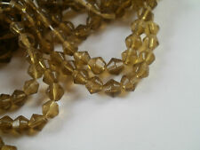 100 OLIVE GREEN  BICONE  GLASS BEADS 4MM