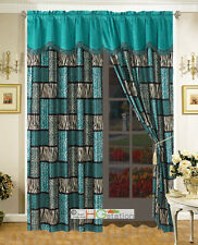 4-Pc Big Cat Feline Leopard Cheetah Jaguar Tiger Faux Fur Curtain Set Turquoise