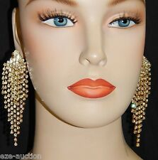 Gold With Clear Rhinestone Crystal Bridal / Prom Party Chandelier Clip Earrings