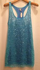 NWT! $58 Victoria's Secret~Small~Sun Beach Dress Top~Sequin Sheer~Turquoise Blue