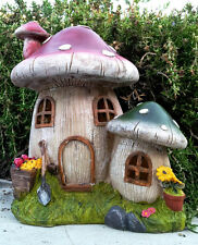 Solar Cute Garden Decor Mushroom Houses Statue with Soft White LED