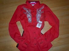 ROAR WOMENS M Long Sleeve Shirt BUTTON UP WESTERN RED WASH Stones Stitch medium
