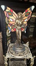Art Deco vintage Tiffany Coloured stained glass fairy lady figurine lamp