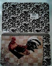 "4 Pc Bergerac Rooster Damask Reversible Vinyl Placemats 17"" x 11"" Multicolor"
