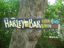 HARLEY BAR BEER BOOZE BIKES & BABES COUNTRY WOOD RUSTIC PRIMITIVE SIGN PLAQUE
