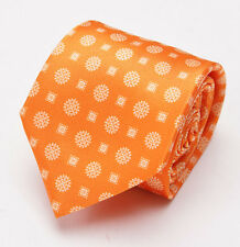 NWT $230 BRIONI Slim Satin Silk Tie Tangerine Orange Floral Medallion Print