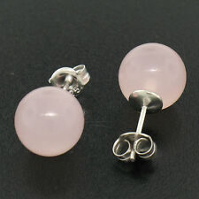 NEW Sterling Silver 10mm Pink Quartz Ball Stud Earrings Classic Simple Elegant
