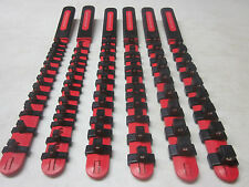 """RED 6pc HANDLE ABS SOCKET RAILS 1/4"""" 3/8"""" 1/2"""" RACK TRAY HOLDER ORGANIZERS ETC"""
