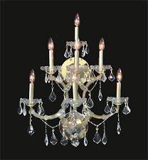 """Large 7-Lights WALL SCONCE (W22"""" x H27"""" x E15.5"""") GOLD Frame and Clear Crystal"""