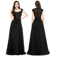 BLACK LACE Vintage Homecoming Formal Long Evening Ball Gowns Party Prom Dress GK