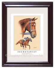 SECRETARIAT FRAMED HORSE RACING ART equine painting Kentucky Derby Triple Crown