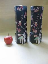 Wilkinson Royal Staffordshire Pair of Vases c.1910 ~Hexagonal Pink Blossom Black