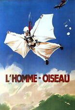 Sky diving - L'Homme - Oiseau - Wingsuit Old French Advert A3 Art Poster Print