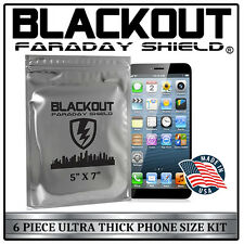 "FARADAY CAGE EMP ESD BAGS 6 PC PHONE SIZE 5"" X 7"" ULTRA THICK By BLACKOUT®"