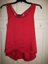 WET SEAL RED LACED BACK HIGH LOW TANK TOP/BLOUSE SIZE X-SMALL