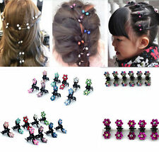 6PCS Lot Girls Rhinestone Crystal Flower Mini Hair Claws Clips Clamps Pink Color