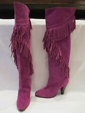 COLIN STUART PURPLE SUEDE FRINGE TALL KNEE TO OVER KNEE BOOTS UK 6.5 US 9  (549)