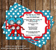 Thing One - Thing Two - Dr Seuss - Twins - Baby Shower Invitations - 15 Printed