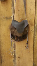 Authentic Hair on Hide Buffalo Leather Pouch w/ strap and Fringe