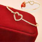 Moda Bracciali Oro Cuore Strass Donna Catena Braccialetto Bracelet Bangle Regalo
