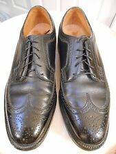 VTG FLORSHEIM ROYAL IMPERIAL BLACK LEATHER V CLEAT LONGWING WINGTIP SHOES 10.5 E