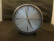 ART DECO METAMEC BRTISH   CIRCULAR SILVERFACED WINDING MANTEL CLOCK IN NEED TLC