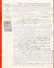 """1877 TRAIN  COMPAGNIE DES CHEMIN DE FER DE L""""EST  DOCUMENT EPOQUE ARDENNE"""