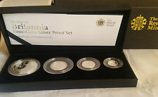 2008 Royal Mint Silver Proof Britannia Four Coin Set cased & COA