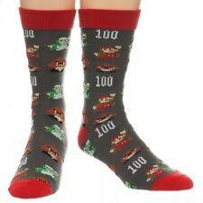 NINTENDO NES SUPER MARIO BROS. ALL OVER PRINT CREW SOCKS WORLD PIXEL GREY RED