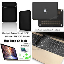 Macbook 12 Inch Case Black-Sleeve Bag Pouch Pocket+Matte Hard Case Keyboard Film