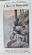"1897 Book Poster RARE ""A Hero in Homespun"" Civil War Epic Confederates in TN"
