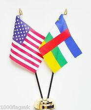 United States of America & Central African Republic Double Friendship Table Flag