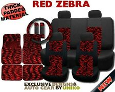 Car Seat Covers Floor Mats Black Thick MESH Red Zebra Print 4 Headrests CS3