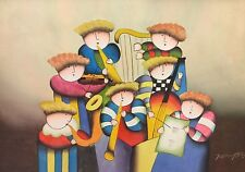 Contemporary Expressionist Children Playing Musical Instruments Painting~Royson