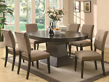 ANDREA - 7pcs Modern Brown Round Oval Dining Room Table & Chairs Set Furniture