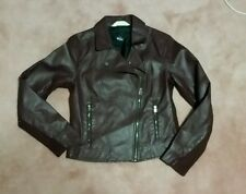 hollister co women's moto maroon faux leather jacket. Size medium. Nwt