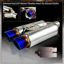"""3.5"""" Dual Burnt Slant Tip T-304 Stainless Muffler Exhaust + Silencer Universal 4"""