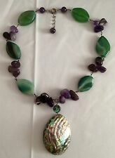 Vintage 925 Sterling Silver Purple Amethyst Green Agate MOP Abalone Necklace
