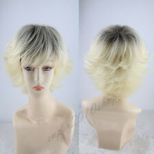 2016 Lady Short Straight Lace Front Wig Sythetic Hair Blond And Black+Free Cap