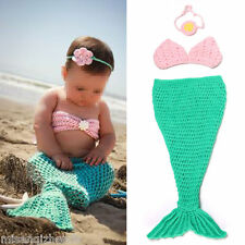 Baby Girls Knit Crochet Pink Hairband Bra Blue Mermaid Costume Photography Props
