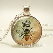 Vintage Queen bee Cabochon Tibetan silver Glass Chain Pendant Necklace f52