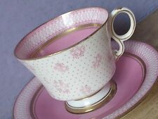 Antique 1920's Pink and White English Bone china art deco Tea cup Teacup fruit